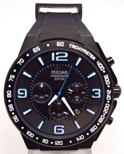 Pulsar Pulsar By Seiko On The Go Black Blue Stainless Mens Chronograph Watch Pt3405