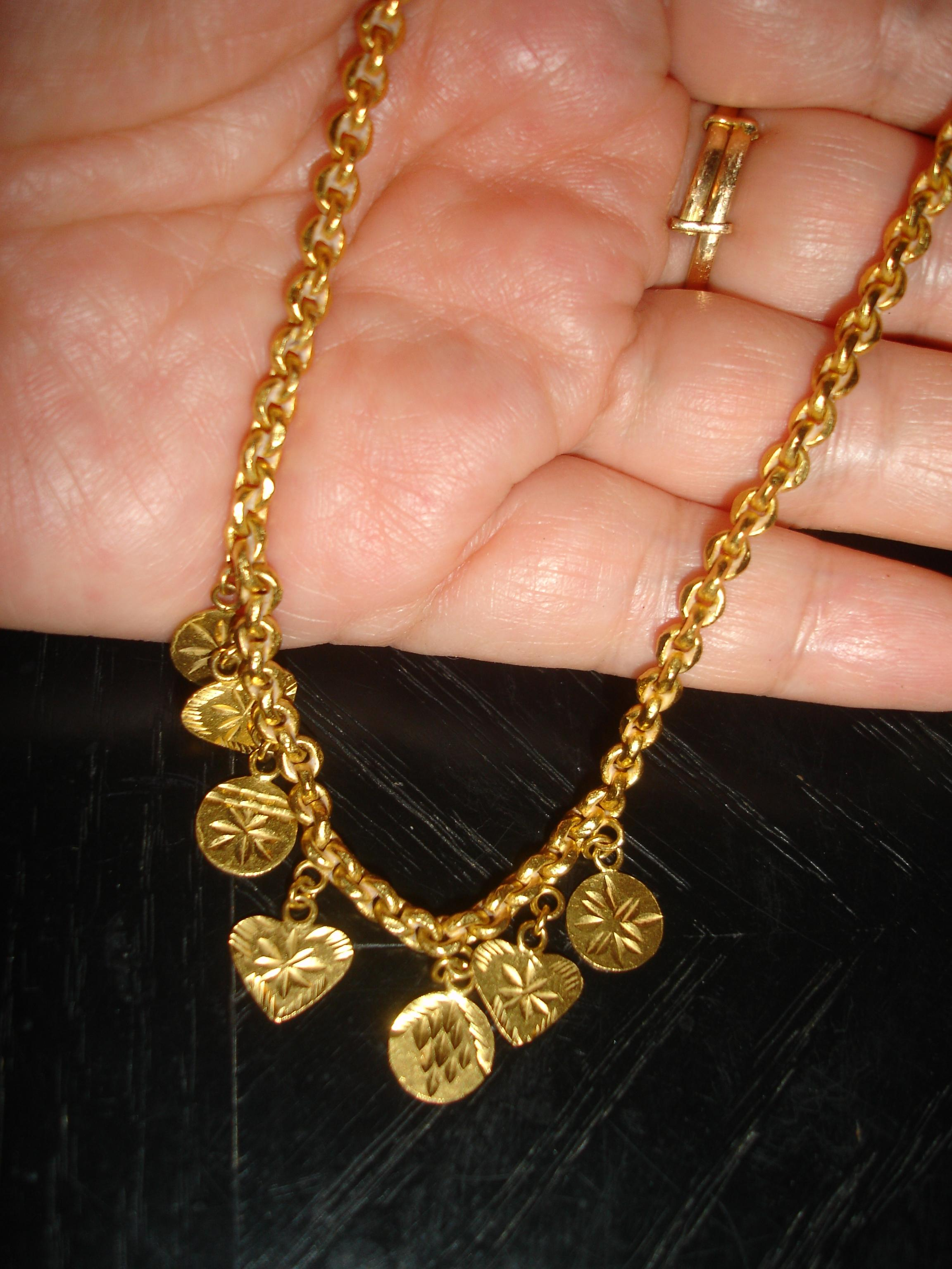 Pure Gold 24 Karat Solid and Earrings From Dubai 22 Grams Necklace