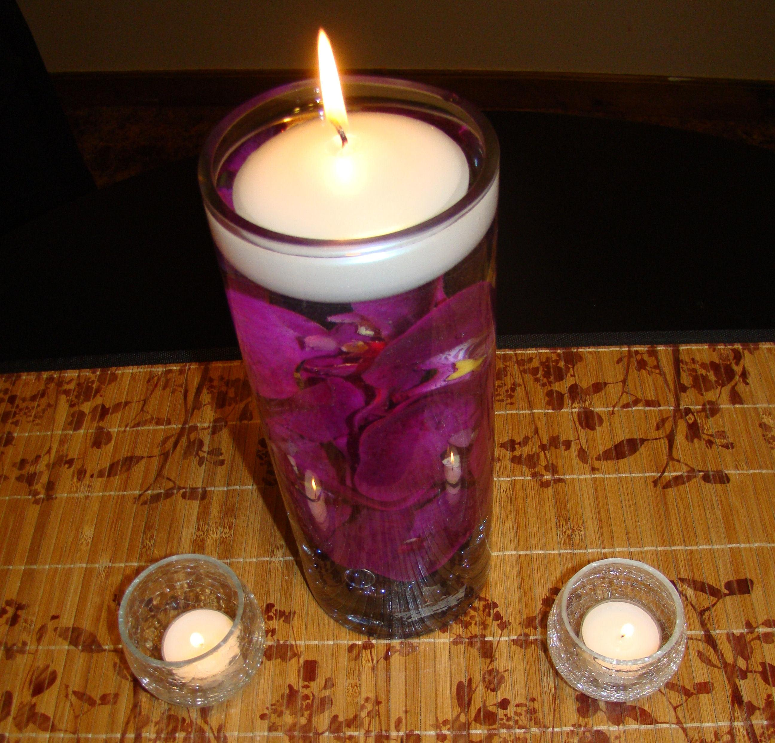 Purple Orchid Centerpieces With Candles Amp Votives Tradesy
