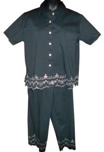 Quacker Factory Xl Pant Suit Button Down Shirt Black