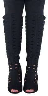 Qupid Womens Suede Cut Out Knee High Black Boots