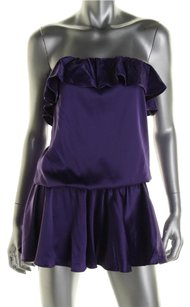 Rachel Lym Scarlette Strapless Purple Ruffle Cover-Up Mini Dress Nwt $120 S