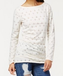 Rachel Roy Cotton-blends Knit-top Long-sleeve New With Tags 3471-0190 Top