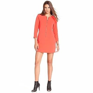 Rachel Roy Long Sleeve Zip Up Geranium Retro Mod Dress