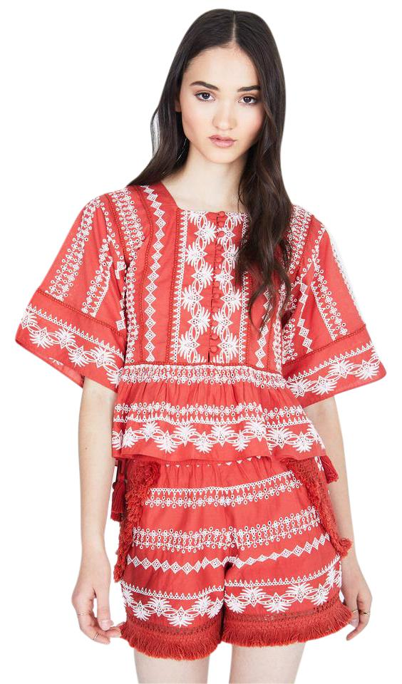 Rachel Zoe Woman Heidi Embroidered Cotton-gauze Blouse Coral Size L Rachel Zoe Discount High Quality Get To Buy For Sale Buy Cheap Largest Supplier New Release Popular And Cheap OGX1IyMPTc