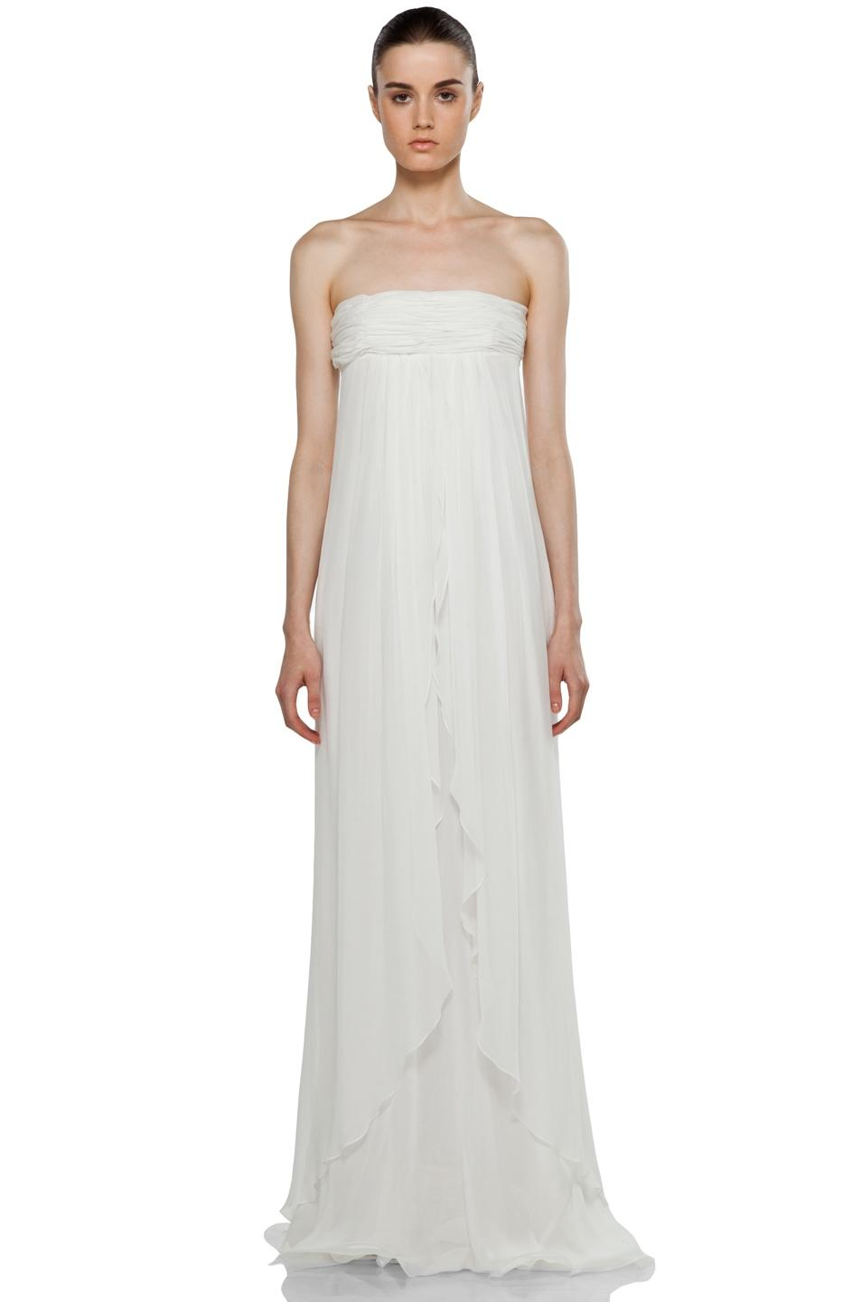 Rachel Zoe Cream Silk Elle Empire Petal Destination Wedding Dress Size 6  (S) ...