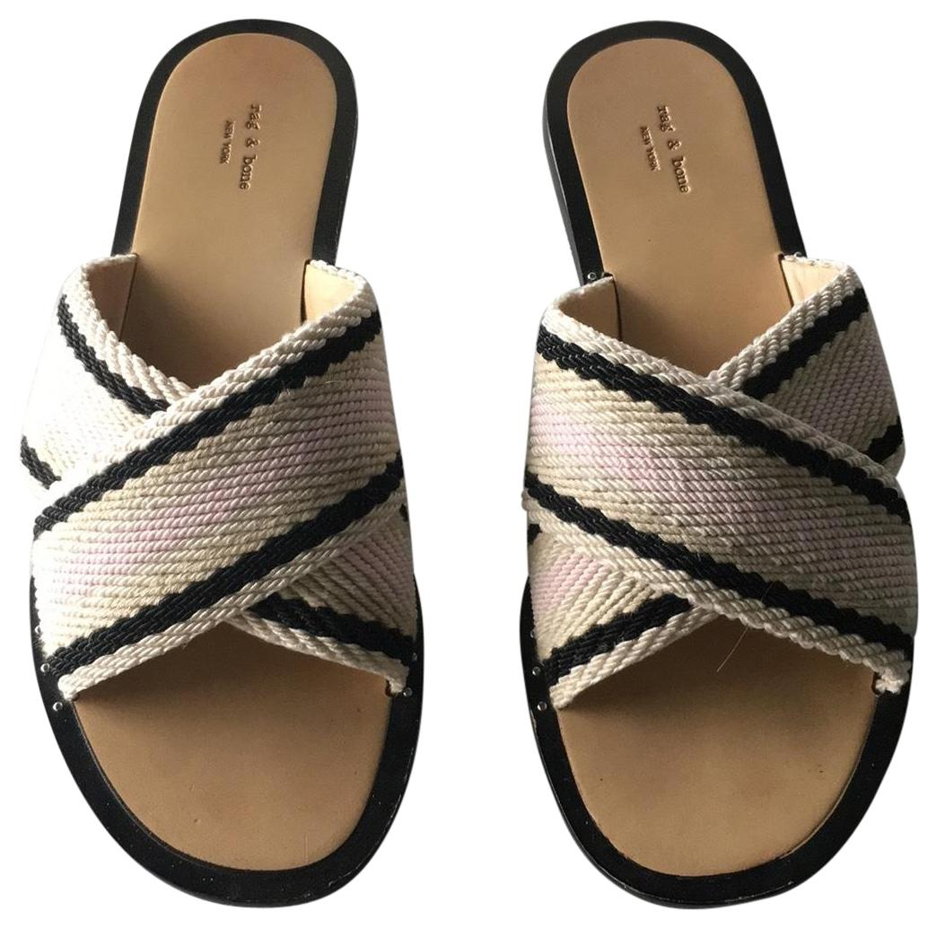 Rag & Bone Slides Are Black Pink and Taupe Sandals Size EU 38.5 (Approx. US 8.5) Regular (M, B)
