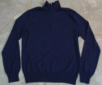 Ralph Lauren Womens Blue Long Sleeve Quarter Zip Blouse Sweater