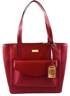 Ralph Lauren Leather Bramley Tote in Red