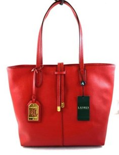 Ralph Lauren Leather Crawley Tote in Red