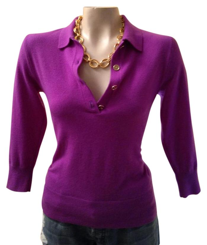Ralph Lauren Black Label Purple Knit 3/4 Sleeve Polo Sweater Size ...