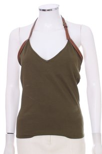 Ralph Lauren Black Label Leather Supple Chic Tank Silk Cotton Sleeveless Olive Halter Top