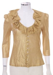 Ralph Lauren Black Label Ruffles Cotton Mesh Stretchy Sheer Top Gold