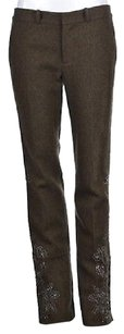 Ralph Lauren Blue Label Womens Brown Casual Textured Wool Trousers Pants