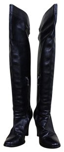 Ralph Lauren Collection Leather Above Knee Heels Black Boots