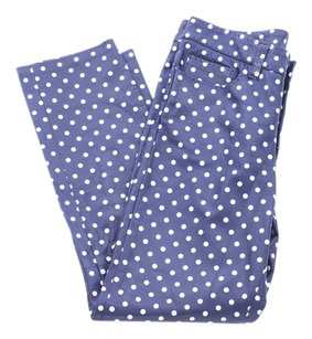 Ralph Lauren Collection Polka Dot Leather Pearl Straight Pants Black and White