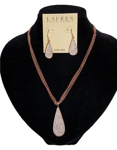 Ralph Lauren Large Tear Drop Necklace/Earrings