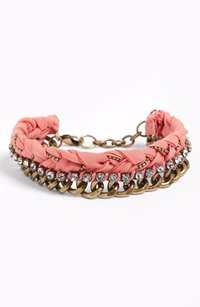 Ralph Lauren Nordstrom Missing Piece Crystal Fabric Bracelet Item 448786 Pink