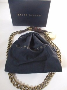 Ralph Lauren Ralph Lauren Brass Link Leather Buckle Lock Charm Necklace