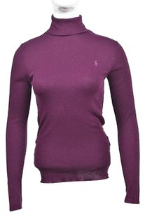 Ralph Lauren Sport Womens Wine Turtleneck Cotton Sweater