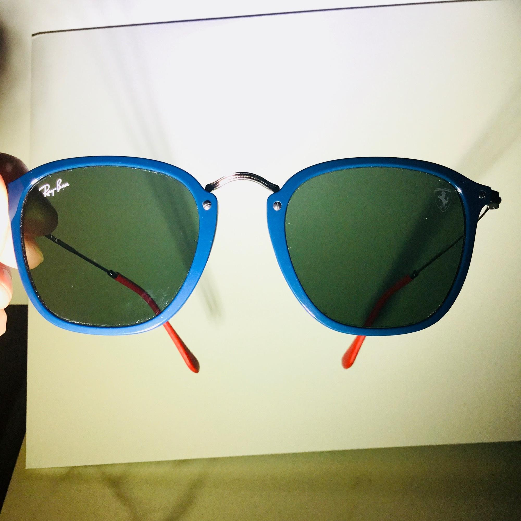 5709922178c ... new zealand ray ban black lenses with blue frame and red ear covers.  wayfarer 083d0