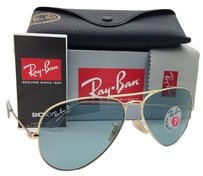 Ray-Ban Polarized RAY-BAN Sunglasses LARGE METAL Gold w/ Sky Blue