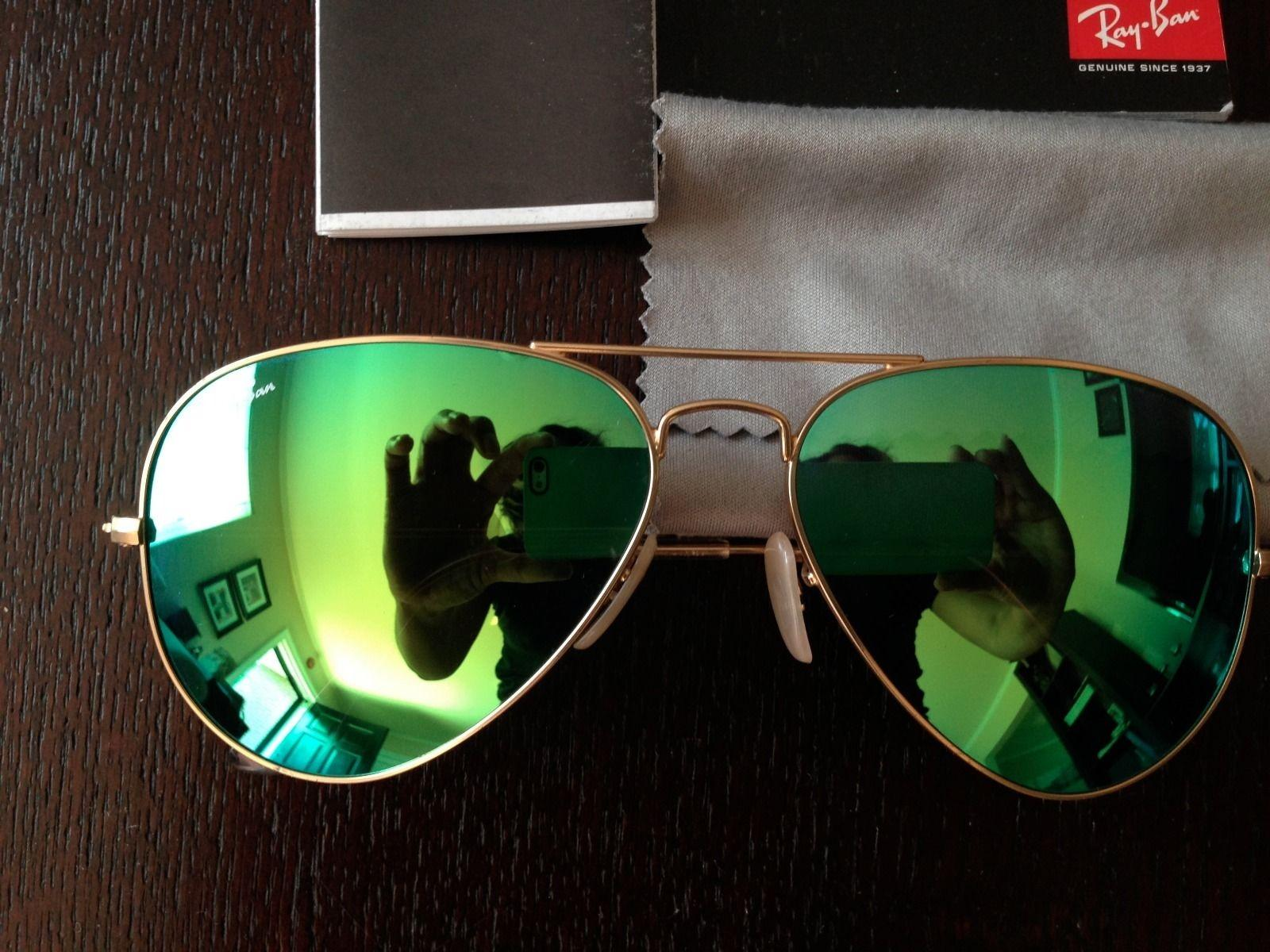 well-wreapped Ray-Ban Aviator Mirror Lens - Gold frame Green lens