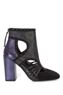 Rebecca Minkoff Bethany Blue Metallic Suede Leather Studded Ankle Black Boots