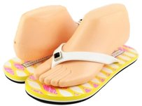 Rebecca Minkoff Finley Yellow Pink Designer Open Toe Thong Flip Flops Flats 7 Multi-Color Sandals