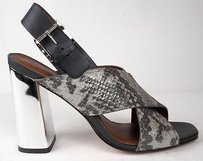 Rebecca Minkoff Metallic Reptile Print Slingback Sandals Heels Gray / Black Pumps