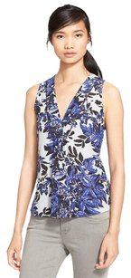 Rebecca Taylor Flame Forest Silk Tank Top Blue