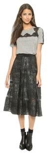 Rebecca Taylor Foil Lace Mini Skirt Black