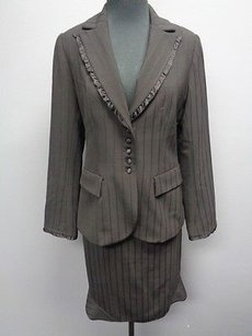Rebecca Taylor Rebecca Taylor Black Striped Lined Polyester Blend Skirt Suit Sma6124