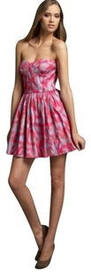 Rebecca Taylor Strapless Sweetheart Print Dress