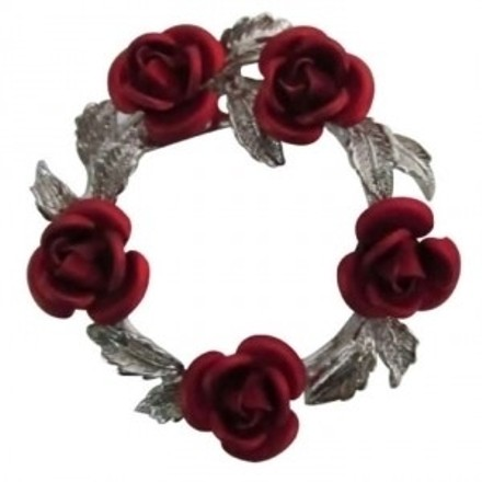Red Rose Silver Tone Wreath Jewelry Collection Glorious Bridal Brooch