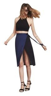 Reformation Wrap Midi Slit Crepe Skirt Black and Sapphire