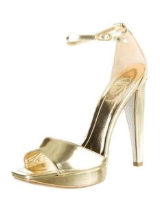 Rene Caovilla Womens Leather Strappy Platform High Heel Gold Pumps