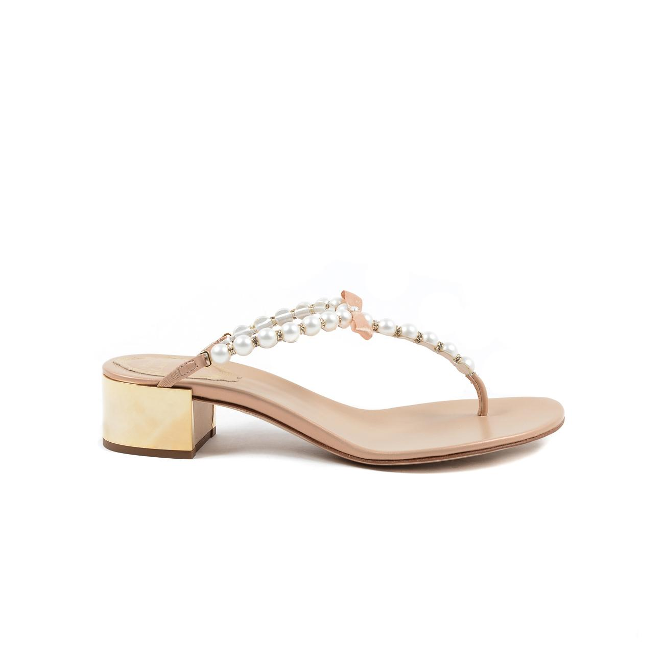Rene Caovilla Pink Eliza Flip 40 Leather Pearl Sandals Size US 9 Regular (M, B)