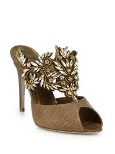 Rene Caovilla Snakeskin Python Crystal Brown Sandals