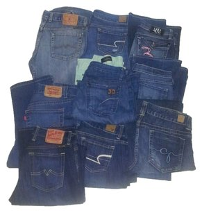 Resale Lot Of 20 Womens Designer Jeans. Different sizes, COH, AME, JOE'S,LEVI, Boot Cut Jeans