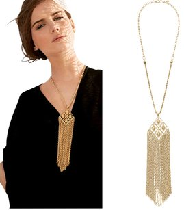 Rhinestone crystal Choker necklace Long Gold Tassel Sweater necklace, Tassel necklace, fringe tassel necklace