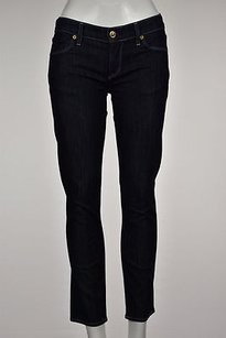 Rich & Skinny Amp Womens Dark Blue Straight Capri Cotton Cropped Capri/Cropped Denim