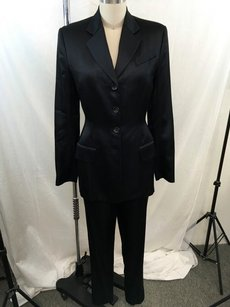 Richard Tyler Richard Tyler Black Satin Piece Blazer Vest Pants Suit