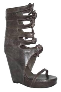 Rick Owens Womens Leather Knot Open Wedge Sandal Brown Boots