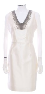 Rickie Freeman for Teri Jon V-neck Silk Beaded Dress