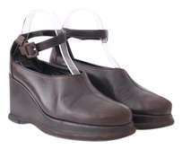 Robert Clergerie Vtg Leather Rubber Ankle Strap Round Toe Wedge 838 Brown Platforms