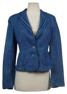 Robert Graham Robert Graham Womens Blue Teal Blazer Cotton Career Long Sleeve Jacket