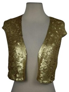 Robert Rodriguez Womens Sequined Cardigan Silk Cap Sleeve Shirt Sweater