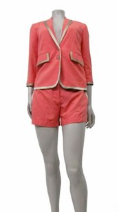 Robert Rodriguez Robert Rodriguez Coral Silk Piped Jacket Shorts Suit 2pc Set 0