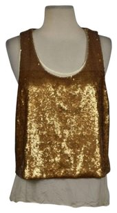 Robert Rodriguez Womens Sequined Metallic Sleeveless Shirt Top Bronze